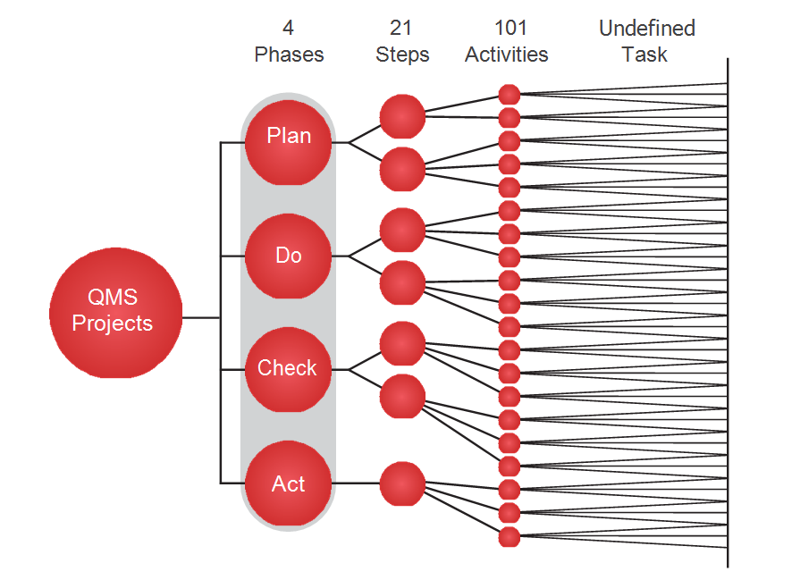 QMS project phases, steps, activities and undefined tasks.